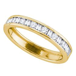 14kt Yellow Gold Round Baguette Diamond Single Row Wedding Band 1/2 Cttw