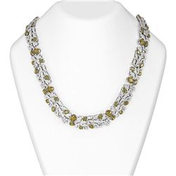 53.45 ctw Canary Citrine & Diamond Necklace 18K White Gold