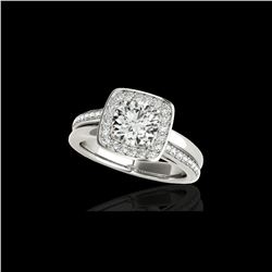 1.33 ctw Certified Diamond Solitaire Halo Ring 10K White Gold