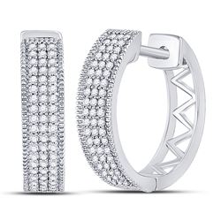 10kt White Gold Round Diamond Triple Row Pave Hoop Earrings 1/3 Cttw