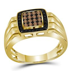 10kt Yellow Gold Mens Round Brown Black Color Enhanced Diamond Square Cluster Band Ring 1/2 Cttw