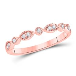 14kt Rose Gold Round Diamond Classic Stackable Band Ring 1/10 Cttw