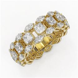 7.42 ctw Princess and Marquise Diamond Eternity Band 18K Yellow Gold