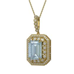 16.94 ctw Sky Topaz & Diamond Victorian Necklace 14K Yellow Gold