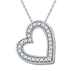 10kt White Gold Round Diamond Heart Pendant 1/8 Cttw