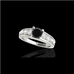 3.05 ctw Certified VS Black Diamond Solitaire Ring 10K White Gold