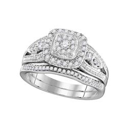 10kt White Gold Round Diamond Bridal Wedding Engagement Ring Band Set 3/8 Cttw