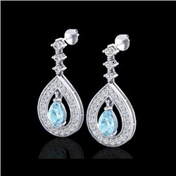 2.25 ctw Aquamarine & Micro Pave VS/SI Diamond Earrings 14K White Gold