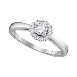 10kt White Gold Round Diamond Solitaire Halo Bridal Wedding Engagement Ring 1/3 Cttw