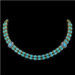39.28 ctw Swiss Topaz & Diamond Necklace 14K Yellow Gold