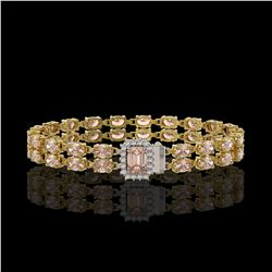 16.35 ctw Morganite & Diamond Bracelet 14K Yellow Gold