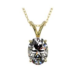 1 ctw Certified VS/SI Quality Oval Diamond Necklace 10K Yellow Gold
