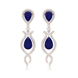 16.57 ctw Sapphire & VS Diamond Earrings 18K Rose Gold