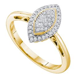 10kt Yellow Gold Round Diamond Oval Frame Cluster Ring 1/6 Cttw