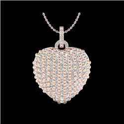 3 ctw Micro Pave VS/SI Diamond Designer Heart Necklace 14K Rose Gold