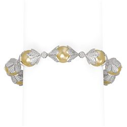 10 ctw Diamond and Pearl Bracelet 18K White Gold