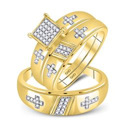 10kt Yellow Gold His & Hers Diamond Cross Matching Bridal Wedding Ring Band Set 1/12 Cttw