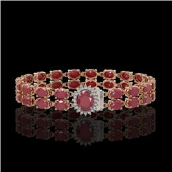 30.12 ctw Ruby & Diamond Bracelet 14K Rose Gold