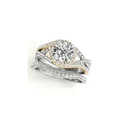 1.4 ctw Certified VS/SI Diamond 2pc Set Ring Solitaire Halo 14K White & Yellow Gold