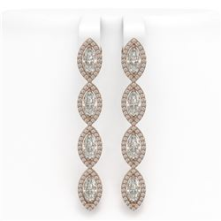 6.08 ctw Marquise Cut Diamond Micro Pave Earrings 18K Rose Gold