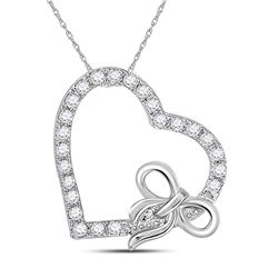 14kt White Gold Round Diamond Heart Bow Pendant 1/4 Cttw