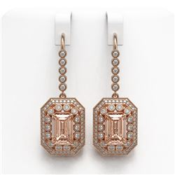12.1 ctw Morganite & Diamond Victorian Earrings 14K Rose Gold