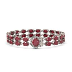 30.12 ctw Ruby & Diamond Bracelet 14K White Gold