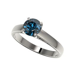 1.28 ctw Certified Intense Blue Diamond Engagement Ring 10K White Gold