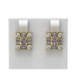 3.5 ctw Morganite & Diamond Earrings 18K Yellow Gold