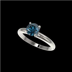 1.26 ctw Certified Intense Blue Diamond Engagement Ring 10K White Gold