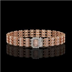 24.91 ctw Morganite & Diamond Bracelet 14K Rose Gold
