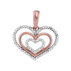 10kt Rose Gold Round Diamond Triple Nested Heart Pendant 1/10 Cttw