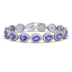 21.06 ctw Tanzanite & Diamond Micro Pave Halo Bracelet 10K White Gold