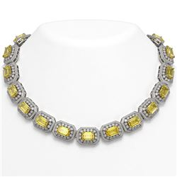 110.45 ctw Canary Citrine & Diamond Victorian Necklace 14K White Gold