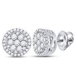 10kt White Gold Round Diamond Flower Cluster Earrings 3/8 Cttw