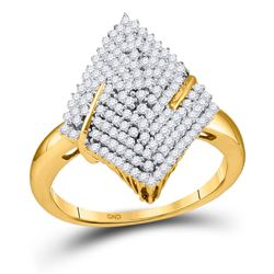 10kt Yellow Gold Round Diamond Pointed Oval Arched Cluster Ring 1/2 Cttw