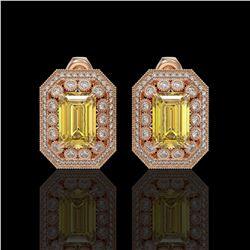 11.03 ctw Canary Citrine & Diamond Victorian Earrings 14K Rose Gold
