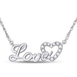 10kt White Gold Round Diamond Love Heart Pendant Necklace 1/6 Cttw