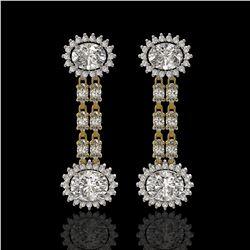 7.47 ctw Rare Oval Diamond Earrings 18K Yellow Gold