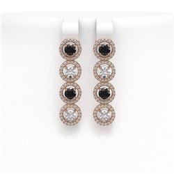 4.52 ctw Black & Diamond Micro Pave Earrings 18K Rose Gold