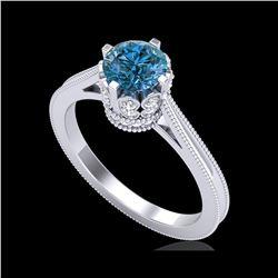 1.14 ctw Fancy Intense Blue Diamond Art Deco Ring 18K White Gold