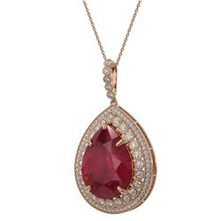 42.84 ctw Certified Ruby & Diamond Victorian Necklace 14K Rose Gold