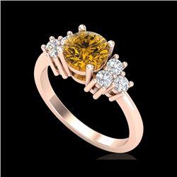 1.5 ctw Intense Fancy Yellow Diamond Ring 18K Rose Gold