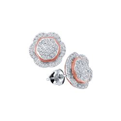 10kt White Gold Round Diamond Rose-tone Frame Octagon Cluster Earrings 1/3 Cttw