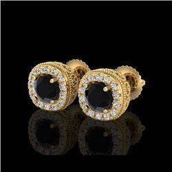 1.69 ctw Fancy Black Diamond Art Deco Stud Earrings 18K Yellow Gold