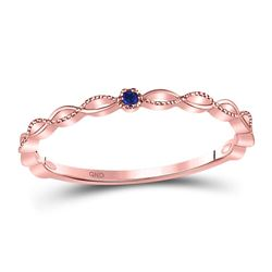 10kt Rose Gold Round Blue Sapphire Milgrain Stackable Band Ring .01 Cttw