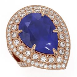 16.29 ctw Certified Sapphire & Diamond Victorian Ring 14K Rose Gold