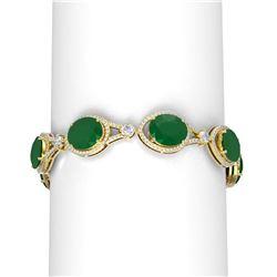60.25 ctw Emerald & Diamond Bracelet 18K Yellow Gold