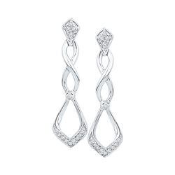 10kt White Gold Round Diamond Cascading Teardrop Dangle Earrings 1/10 Cttw