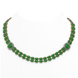 70.15 ctw Jade & Diamond Necklace 14K Rose Gold